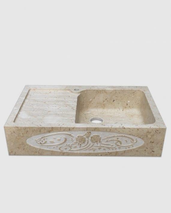 lavandino in pietra classic1 gocciolatoio ornamento rose frontale