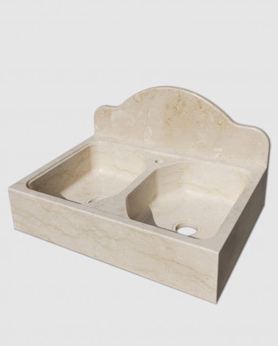 lavandino pietra due vasche techno perlatino sicilia laterale
