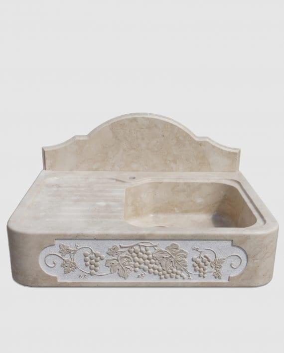 lavandino pietra scolapiatti ornamento scultura uva