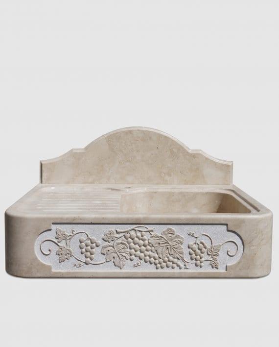 lavandino pietra scolapiatti ornamento scultura uva fronte