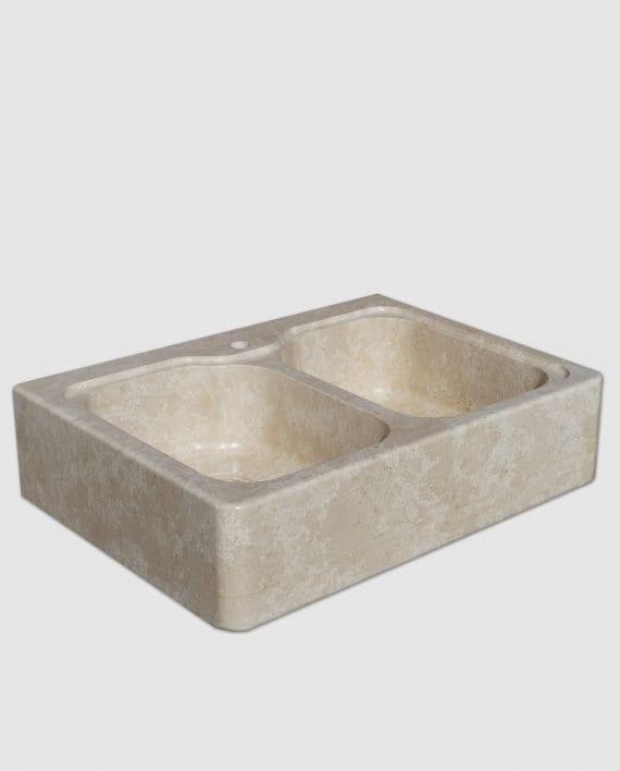 lavello pietra daino fiocco di neve beige laterale