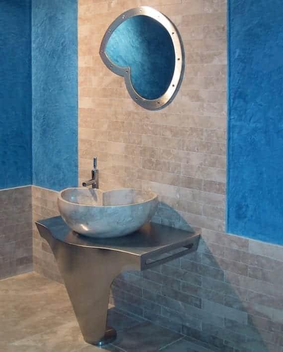 lavabo nautilus design conchiglia bagno marmo