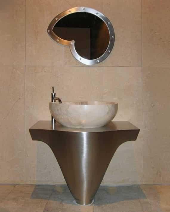 lavabo nautilus design conchiglia bagno marmo frontale