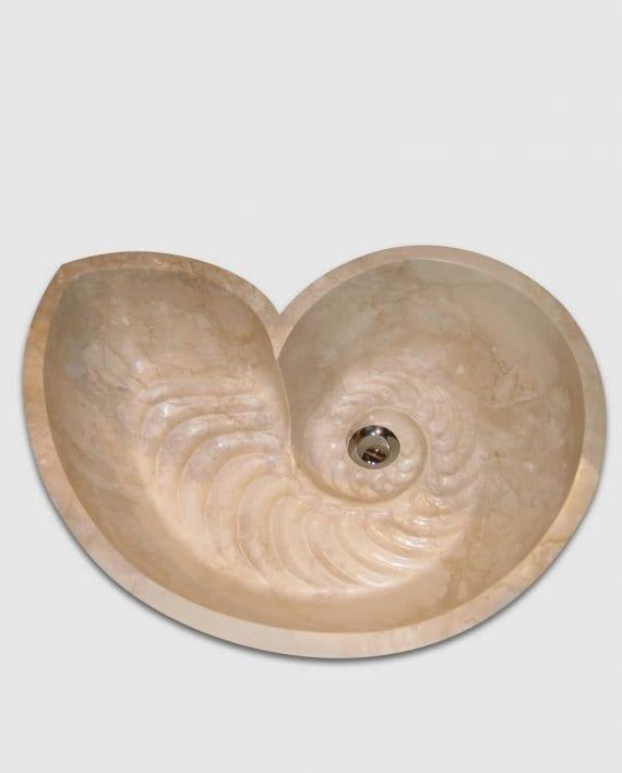 lavabo nautilus design conchiglia bagno marmo particolare
