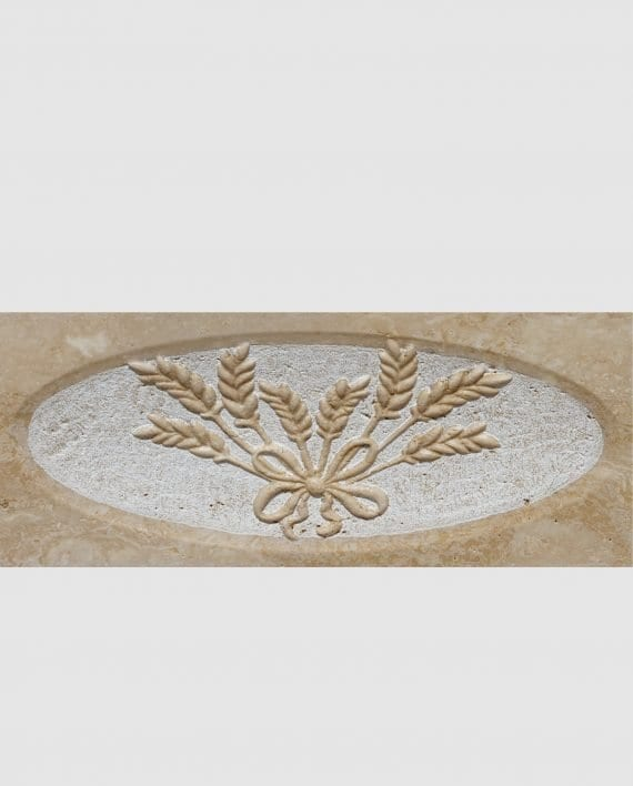 washbasin travertine ornament ears of wheat lavender detail