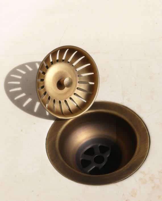 piletta basket pilettone ottone anticato brunito bronzo cucina scarico pezzi separati