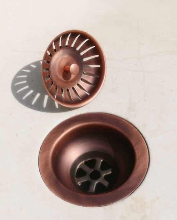piletta basket pilettone rame anticato brunito cestello cucina scarico pezzi separati