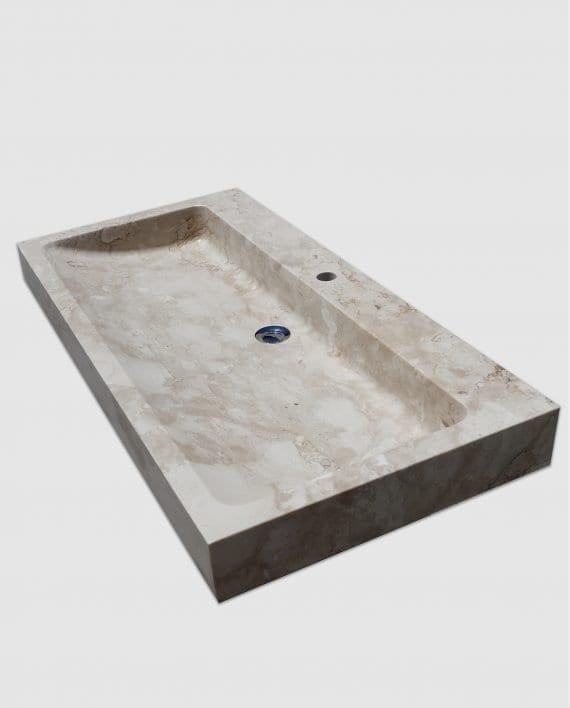 lavabo appoggio bagno marmo rettangolare trequarti