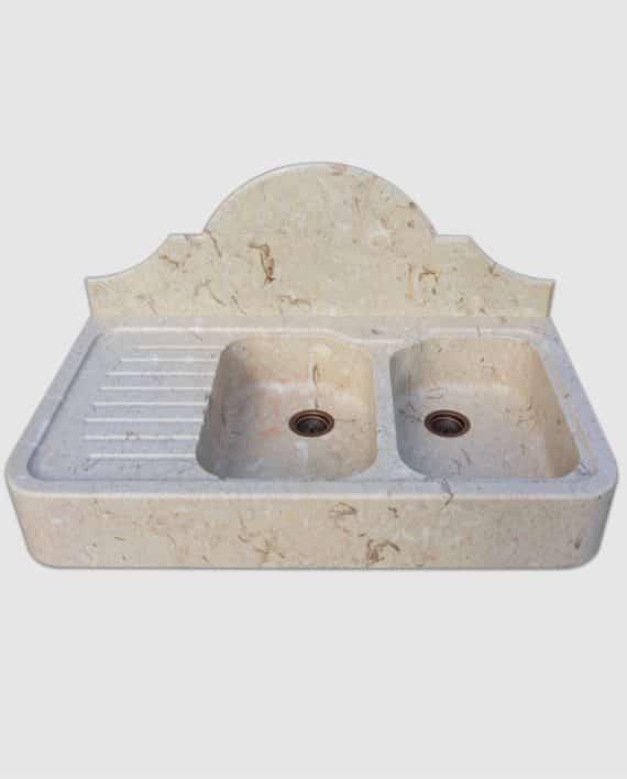 lavandino in pietra con gocciolatoio spalliera e pilette basket mod eryx in perlato di sicilia